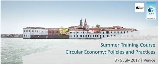 Veneza, 3 a 5 de julho: Summer training course on circular economy: policies and practices