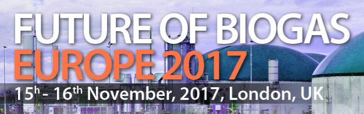 Londres, 15 e 16 de novembro: Future of Biogas Europe 2017 – Exploring The Future of Anaerobic Digestion and Biogas Optimisation